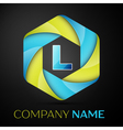 L Letter colorful logo in the hexagonal on black vector image vector image