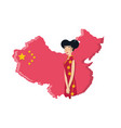 map china with geisha woman isolated icon vector image vector image