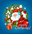 merry christmas holiday greetings with santa vector image vector image