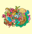 mix doodle monster and nature summer vector image