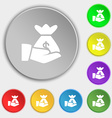 money in hand icon sign Symbol on eight flat vector image vector image