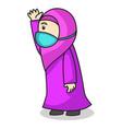 muslim girl use pink dress and hijab traditional vector image vector image