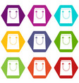 paper bag icon set color hexahedron vector image