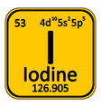 Periodic table element iodine icon vector image vector image