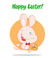 Pink Bunny With An Easter Basket vector image vector image