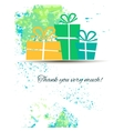 Postcard with gifts and gratitude on a watercolor vector image vector image