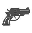 revolver solid icon weapon vector image vector image