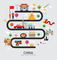 road map and journey route in china vector image