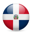 Round glossy icon of dominican republic vector image