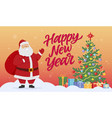santa with christmas tree and presents - modern vector image