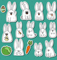 Set 12 sticker rabbit doodle with different vector image vector image
