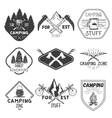 set of camping labels in vintage style vector image