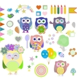 Set of christmas and winter themed owls vector image vector image