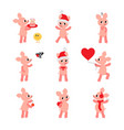 set of funny and cute pigs vector image