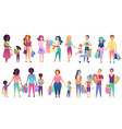 set of shopping family people isolated vector image vector image