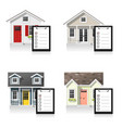 set of small houses and clipboards vector image vector image