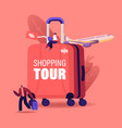 shopping tour concept tiny male female characters vector image vector image