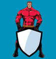 superhero holding shield 2 vector image vector image