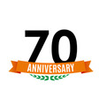 template 70 years anniversary background with vector image vector image