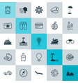 tourism icons set collection of island beach vector image vector image