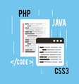 web programming concept languages code css3 php vector image vector image