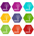 wifi router icon set color hexahedron vector image vector image
