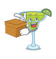 with box margarita character cartoon style vector image