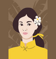 young japanese woman face portrait vector image vector image