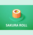 sakura roll isometric icon isolated on color