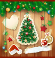 christmas with tree and paper elements vector image