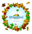 Oktoberfest round frame of maple leaves on white vector image