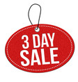 3 day sale label or price tag vector image vector image