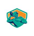 American Football Quarterback QB Shield Retro vector image vector image