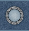 blue denim circle frame vector image vector image