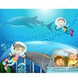 Boy and girl scuba diving under the ocean vector image vector image