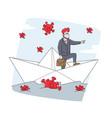 business man in medic mask floating on paper boat vector image