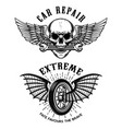 car repair emblems wheel with wings skull vector image vector image
