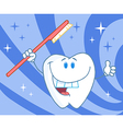 Cartoon Smiling Tooth With Toothbrush vector image vector image