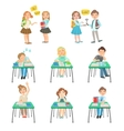 Children At School Sitting In Class And Chatting vector image