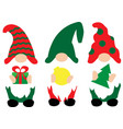 christmas gnomes in red green hats with vector image vector image