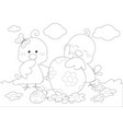 coloring happy easter greeting card with little vector image vector image