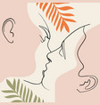 continuous line drawing set facesmen and women vector image vector image