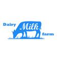 cow silhouette dairy farm vector image vector image