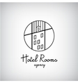 Creative concept symbol for hotel hostel travel vector image vector image
