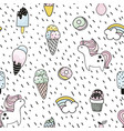 creative seamless pattern with unicorn donut ice vector image