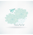 Cute hand-drawn greeting card with a paper plane vector image