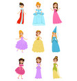 cute little princess girls set beautiful little vector image vector image
