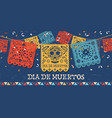 day dead papercut mexican skull banner vector image vector image