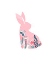 easter bunny pink rabbit with vector image vector image