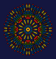 ethnic colored hand drawn mandala navy blue vector image